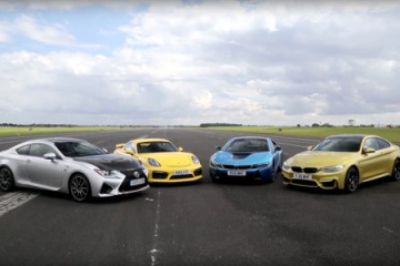 BMW M4 vs. BMW i8 vs. Porsche Cayman GT4 vs. Lexus RC F BMW 4 серия F82-F83